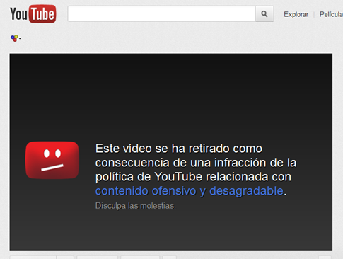 Video eliminado de Youtube