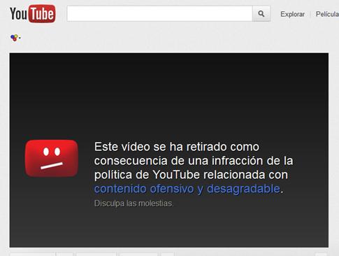 Video eliminado de Youtube