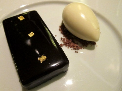 Chocolate Bar (c.1730): Passion fruit jam & ginger ice cream