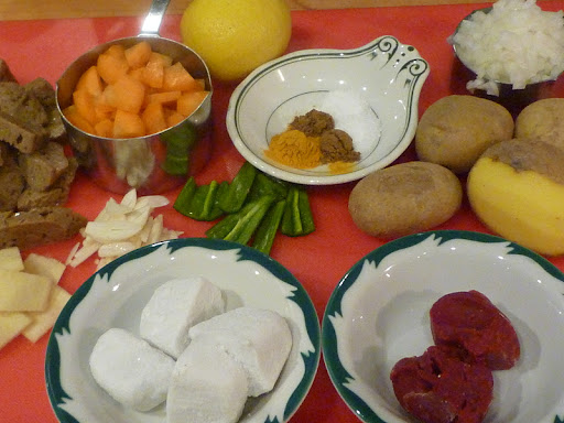 Ingredients for the mock lamb curry-that's the seitan in the left hand corner.
