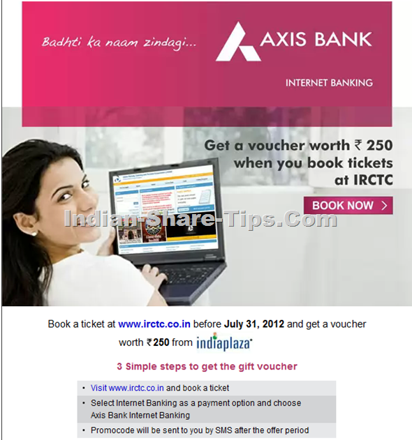 Axis bank and Indian railways discount offer