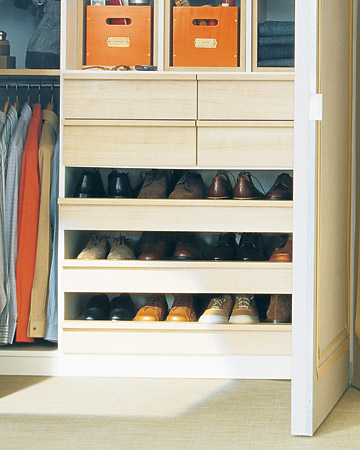 Open, pull-out shelves provide an orderly home for men's or other flat footwear. Each shelf is deep enough to accommodate two rows of shoes, so no stand-alone racks are needed.