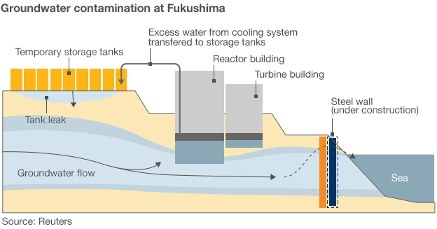 Water from the storage tanks at the Fukushima nuclear plant has seeped into the groundwater and then into the sea. Efforts to use a chemical barrier to prevent sea contamination have not worked. Graphic: Reuters