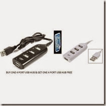 Shopclues: Buy 4 PORT USB 2.0 HUB(BUY 1 GET 1 FREE) at Rs. 54 only