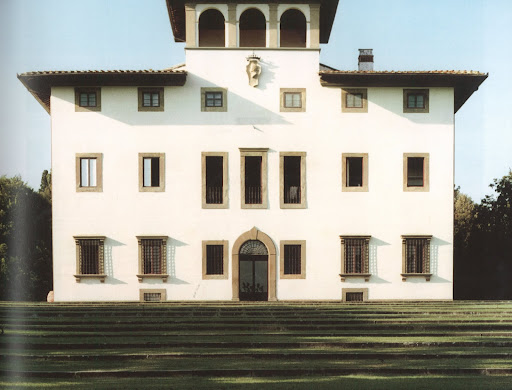 The splendid Renaissance facade of the private Pucci family estate, Villa di Granaiolo.