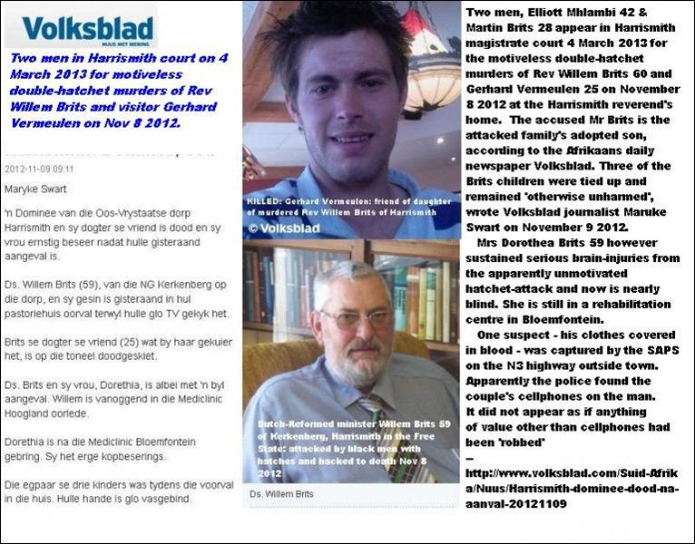 BRITS Rev Willem and VERMEULEN Gerhard killed in hatchet attack Nov 4 2012 HARRISMITH