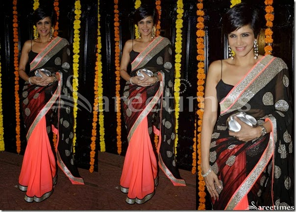 Mandira_Bedi_Black_Peach_Half_and_Half_Saree