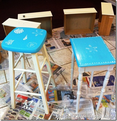 Painted Stool and Table
