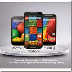 Motorola Moto G, X and E Mobiles 10% Cashback for SBI Cards, Free 3G/2G Data