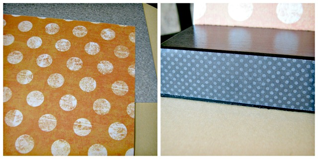 use spray adhesive to apply scrapbook paper