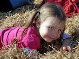 Silliness in the hay ride at Larriland Farm. (October)