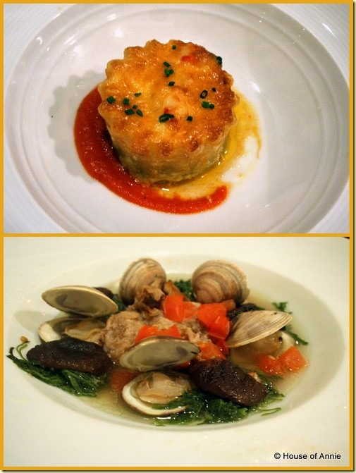 Alan Wong's seafood lasagna and da bag kalua pork steamed clams
