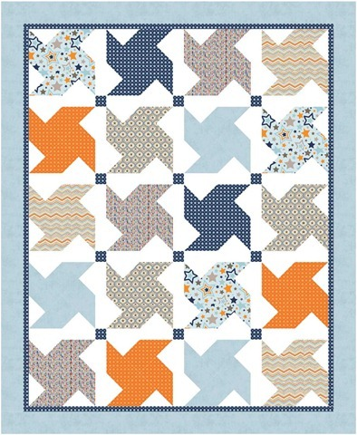 Whirled quilt pattern with One For the Boys fabrics