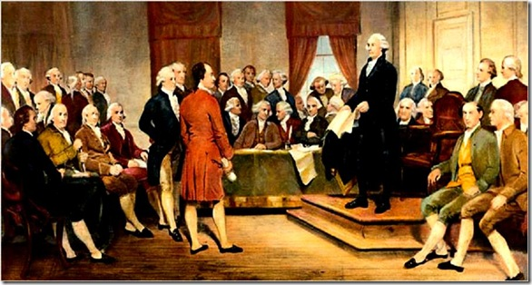 "c. 1856 --- The signing of the United States Constitution in 1787.  Painting by Junius Brutus Stearns. --- Image by © Bettmann/CORBIS<br /><br />Published 11-27-2007: Joseph J. Ellis (Jim Gipe)  ""George Washington Addressing the Constitutional Convention,""  Junius Brutus Stearns, 1856.   (Associated Press Photo/Virginia Museum of Fine Arts)"