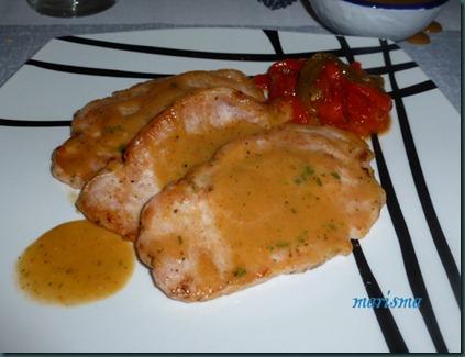 lomo en salsa de verduras,ración copia