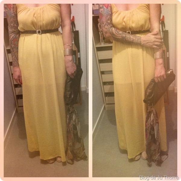 look vestido longo amarelo detalhes