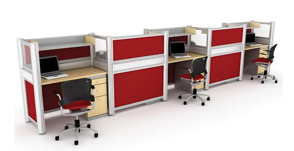 Estacion de Trabajo para 5 Personas Roja con Archivero