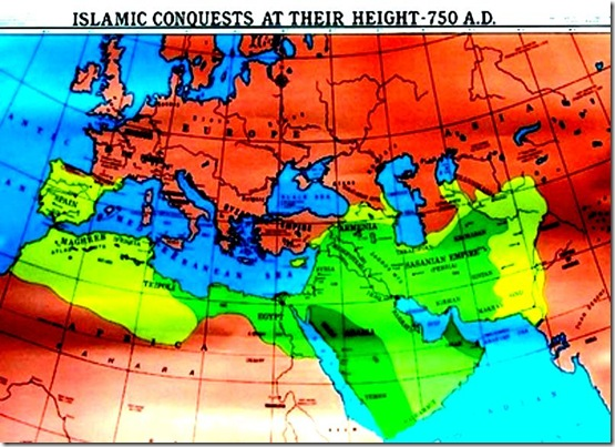 Islamic Conquests at Height 750 AD map