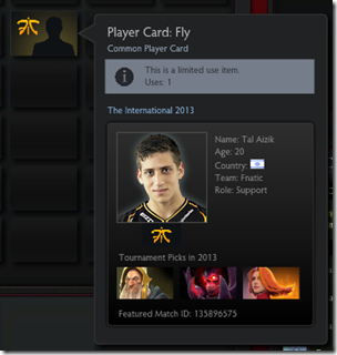 Dota 2 Player Card