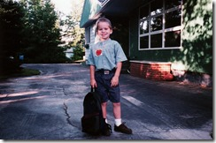 Zach- first day of pre K- XAlpine Ave house...summer 1997