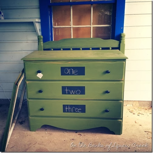 green dresser chalkboard drawers