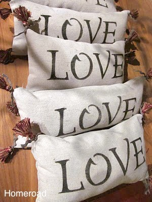 drop cloth stencile LOVE pillows