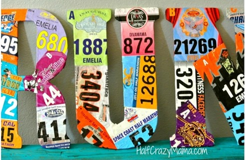 Awesome race bib collage - click for more creative display ideas