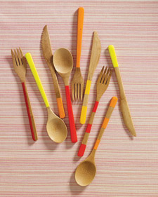 Transform reusable bamboo utensils with a few deft strokes of model paint, which can withstand hand-washing.   To create stripes, tape off the areas you don't want painted using painters' tape; then paint, let dry, and ring the picnic bell. (marthastewart.com/266223/painted-bamboo-cutlery)