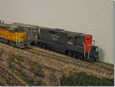 IMG_0439 Cotton Belt GP7 #3310 on My Layout on April 5, 2008