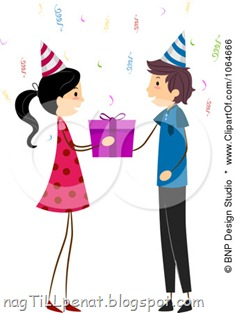 1064666-Clipart-Girl-Giving-A-Boy-A-Birthday-Gift-Royalty-Free-Vector-Illustration