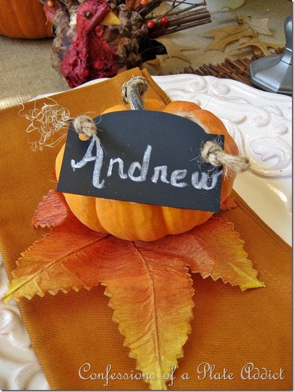 Pumpkin & Chalkboard Placecard