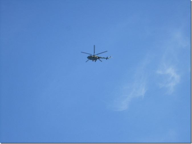 Helicopter in the sky over the stadium