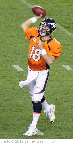 'Peyton Manning throwing  a pass -- intensively.' photo (c) 2012, Jeffrey Beall - license: http://creativecommons.org/licenses/by-sa/2.0/