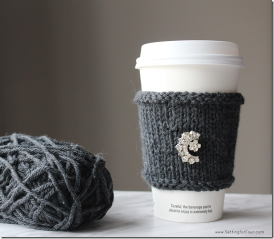 Rhinestone and Cashmere DIY Cup Cozy from Setting for Four