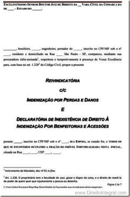 Modelo de Petição Inicial. Ação Reivindicatória cumulada com indenização por perdas e danos e ação declaratória de inexistência de direito à indenização por benfeitorias e acessões