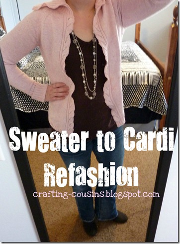 refashion a sweater to a cardigan (3)