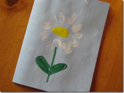 Handmade fingerprint flower Mother's Day card