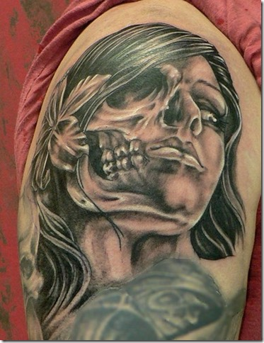 Half-skull-half-woman-face-tattoo