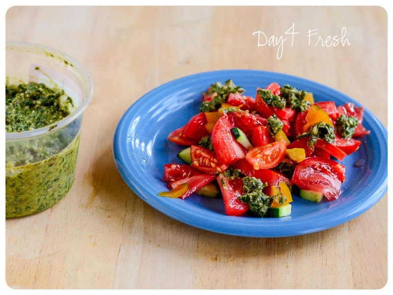 4 Fresh basil pesto on tomatoes, cucumbers, squash and green beans