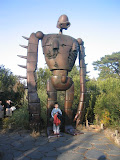 Kai with the Laputa robot, at the Ghibli Museum