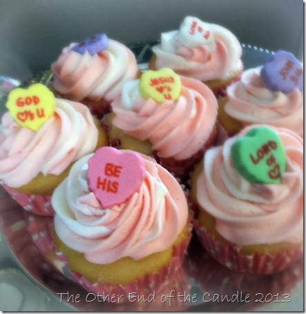 Cutom Conversation Hearts for Valentine Cupcakes via TheOtherEndOfTheCandle.com