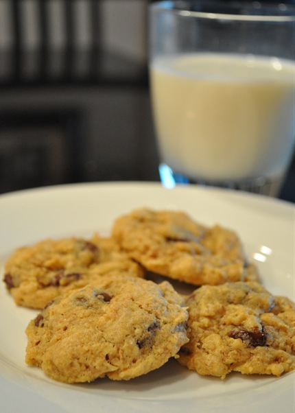 whole grain chocolate chip cookies and milk