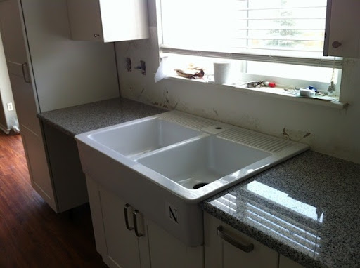 It Was A Big Day When They Installed The Countertops And Put The Sink  Inu2026FYI Put A Layer Of Clear Or White Silicone When Installing/mounting Sink!