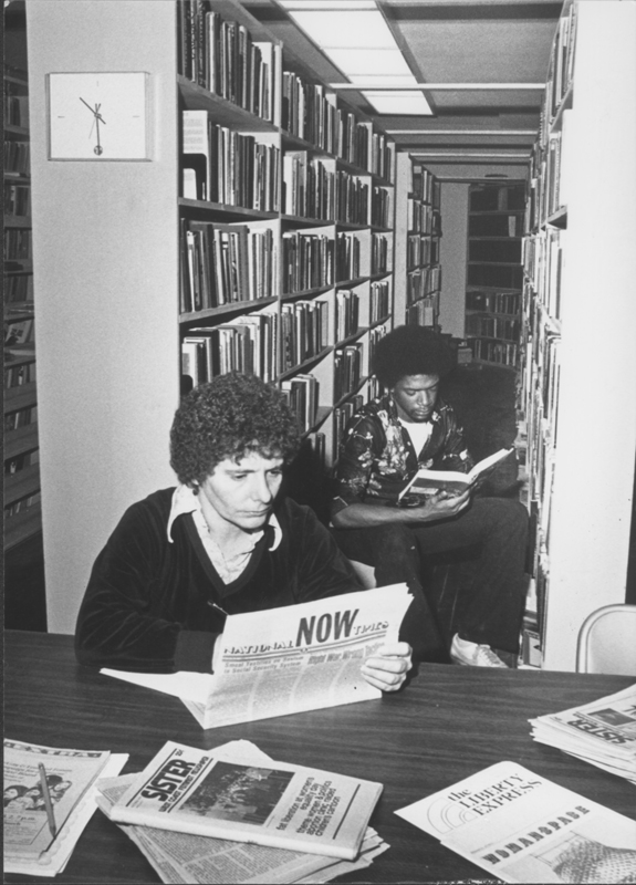Greg and Jo Carron review materials at the National Gay Archives. Circa 1980.
