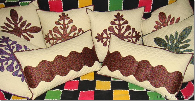 applique cushions in oriental print