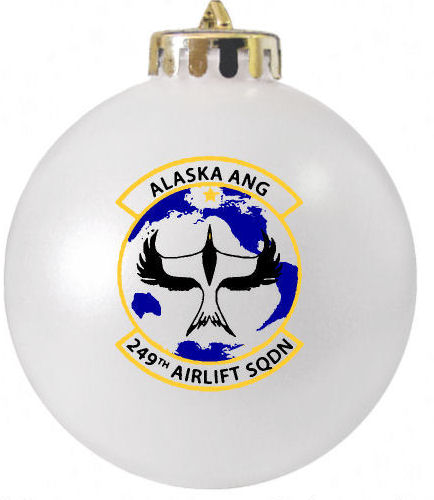 Alaska ANG 249th Airlift Aquadron Custom Logo Christmas Ornament produced by FundraisingOrnaments.com 1-800-761-XMAS
