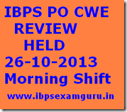 IBPS PO CWE 26-10-2013 Review