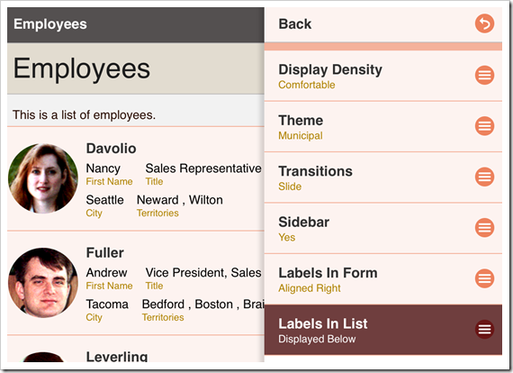 Selecting the Labels in List option from the Settings panel.