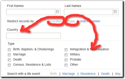 FamilySearch search with country and record type restrictions