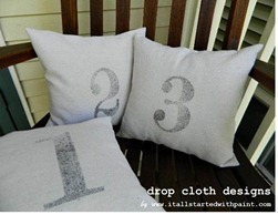 Numbered Drop Cloth Pillows